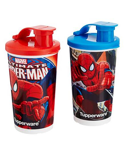 Tupperware Spider Man Sipper Tumblers Red And Blue Set Of 2 - 355 ml