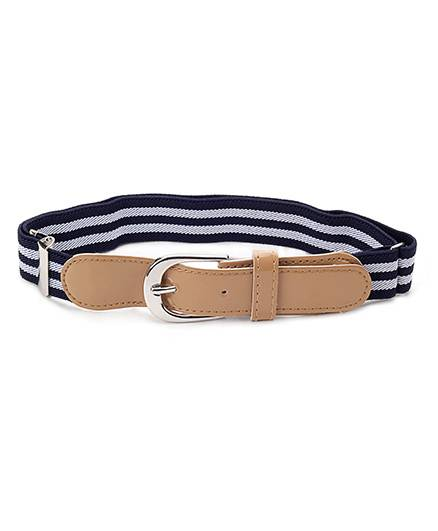 Babyhug Belt Stripes Pattern - White And Navy Blue