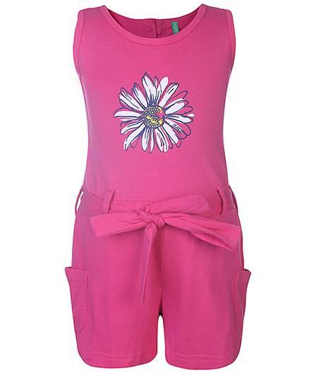 Palm Tree Sleeveless Jumpsuit Floral Print - Pink