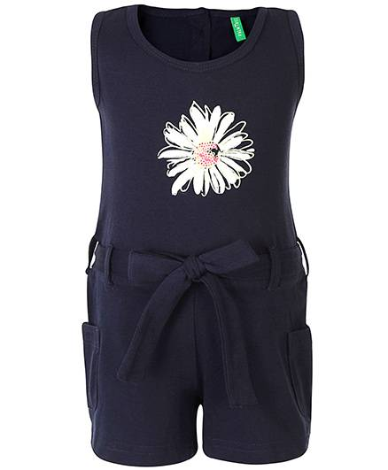Palm Tree Sleeveless Jumpsuit Floral Print - Navy Blue