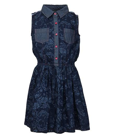Bells and Whistles Denim Dress Collar Neck - Blue