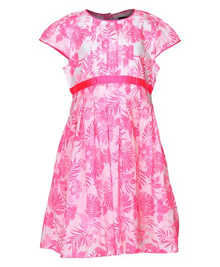 Bells And Whistles Short Sleeves Dress Floral Print - Pink
