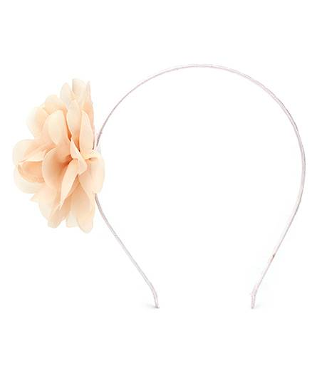 Dchica Hair Band With Floral Applique- Cream