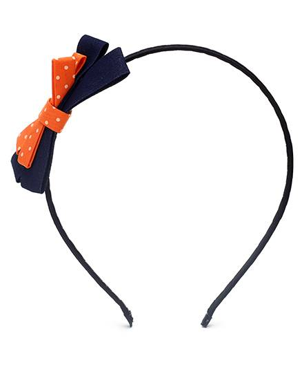 Dchica-Hair Band With Bow-Black And Orange