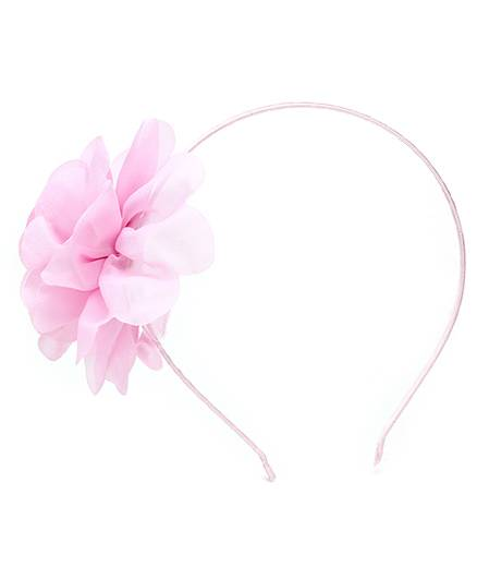 Dchica Hair Band With Floral Applique- Light Pink