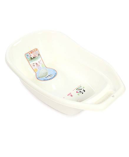 Baby Bath Tub Puppy Print - White