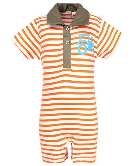 Nino Bambino Organic Cotton Romper Stripes Pattern - Orange And Cream