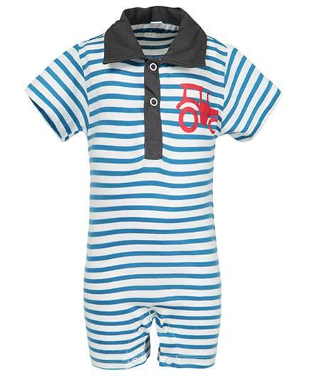 Nino Bambino Organic Cotton Romper Stripes Pattern - Sky Blue
