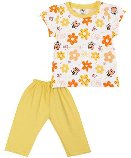 Paaple Short Sleeves Night Suit Floral Print - Yellow And White