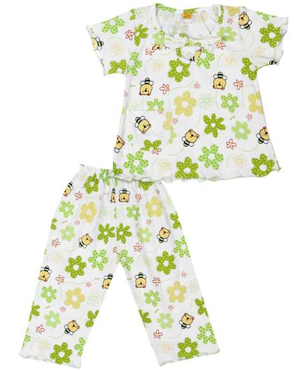 Little Half Sleeve Night Suit Floral Print - White And Green
