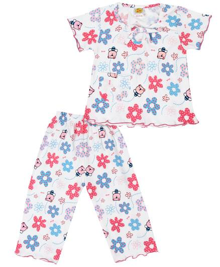 Little Half Sleeve Night Suit Floral Print - White And Pink