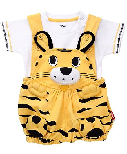 Wow Dungaree With Half Sleeves T-Shirt Kitty Face - Yellow