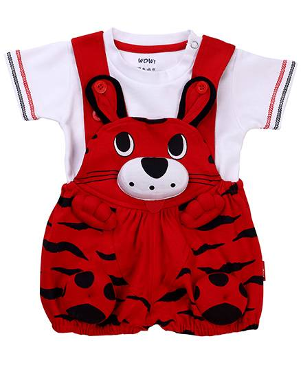 Wow Dungaree With Half Sleeves T-Shirt Kitty Face - Red