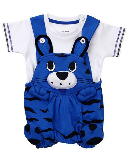 Wow Dungaree With Half Sleeves T-Shirt Kitty Face - Dark Blue