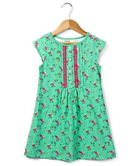 Beebay Short Sleeves Jersey Dress Rose Print - Green