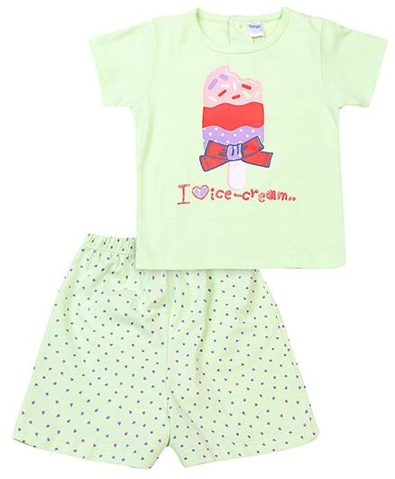 Tango Half Sleeves Top And Shorts Ice Cream Print - Light Green