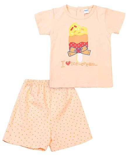 Tango Half Sleeves Top And Shorts Ice Cream Print - Peach