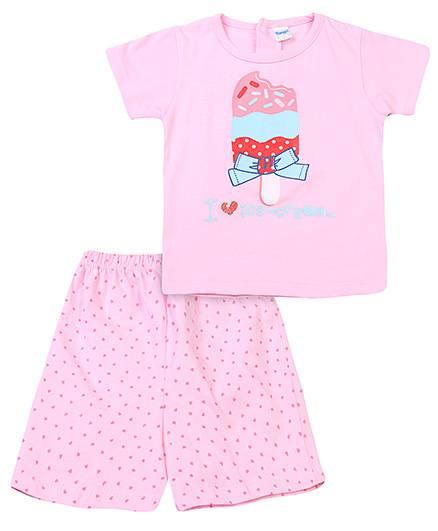 Tango Half Sleeves Top And Shorts Ice Cream Print - Pink