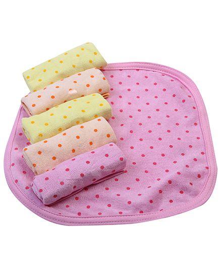Babyhug Napkins Dot Print Set Of 6 - Pink Yellow Peach
