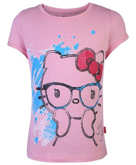 Hello Kitty Printed Half Sleeve Top - Pink
