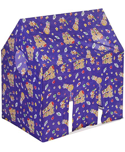 Lovely Play Tent House Teddy Print - Royal Blue