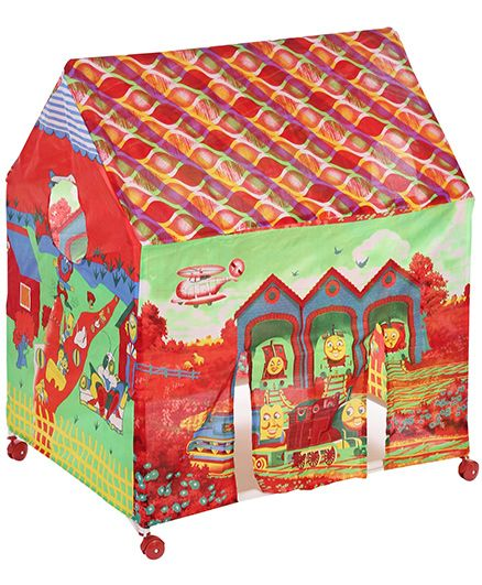 Lovely Play Tent House With Wheels - Green And Red