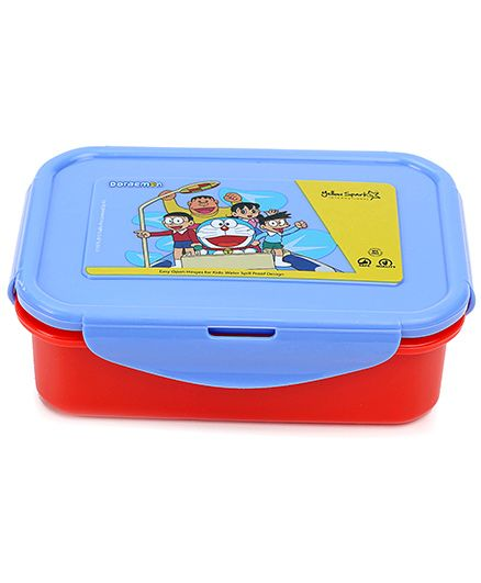 Doraemon Lunch Box With Clip Lock - Blue And Red