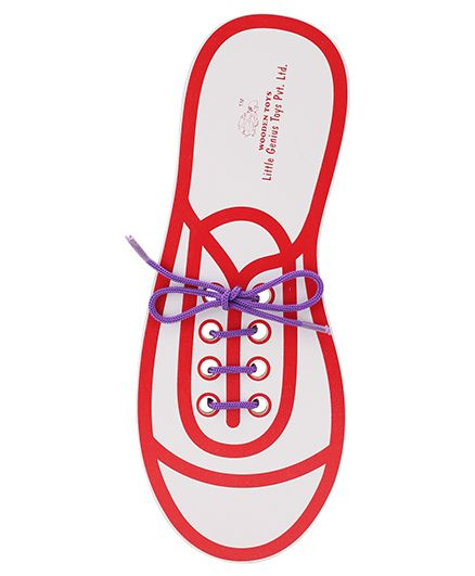 Little Genius Wooden Lace Up Shoe - Red And Purple
