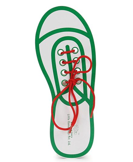 Little Genius Wooden Lace Up Shoe - Red And Aqua