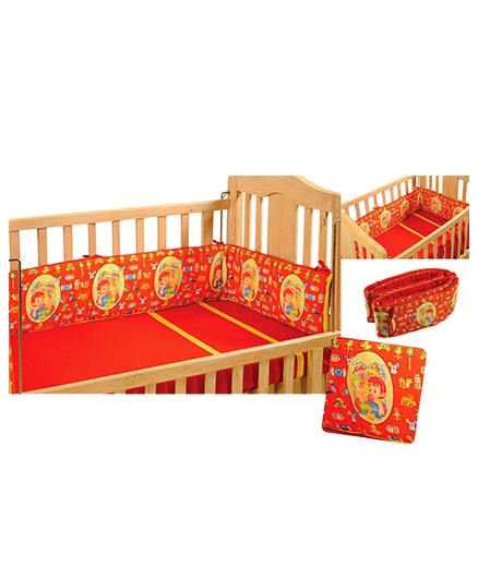Swayam Digitally Printed Reversible Cot Bumper Large - Pure Red
