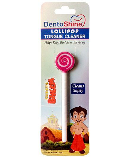 Dentoshine Chhota Bheem Lollipop Tongue Cleaner - Pink And White