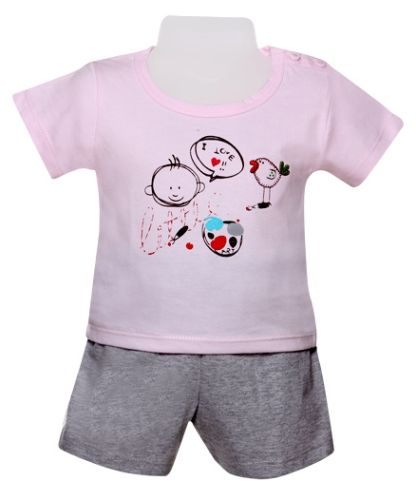 Half Sleeves T-Shirt & Shorts Set - Pink