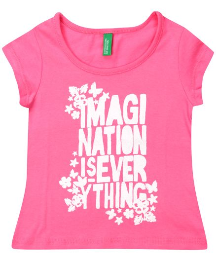 United Colors Of Benetton Short Sleeves Top Printed - Pink