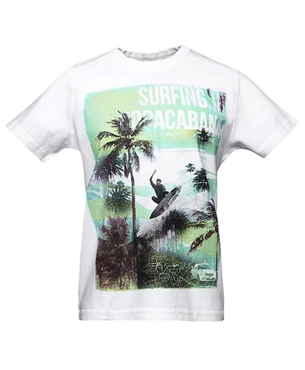 United Colors of Benetton Half Sleeves T-Shirt Copacabana Print - White