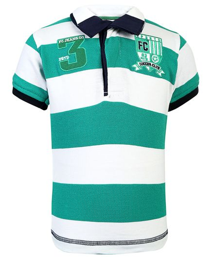 Finger Chips Striped Print T Shirt - Green And White