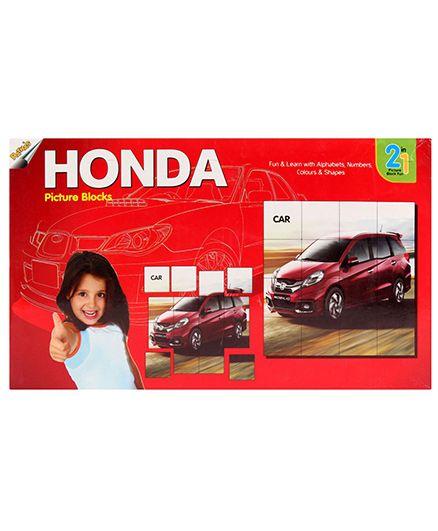 Ratnas 2 In 1 Honda Picture Block Fun Red - 32 Picture And Alphabet Blocks