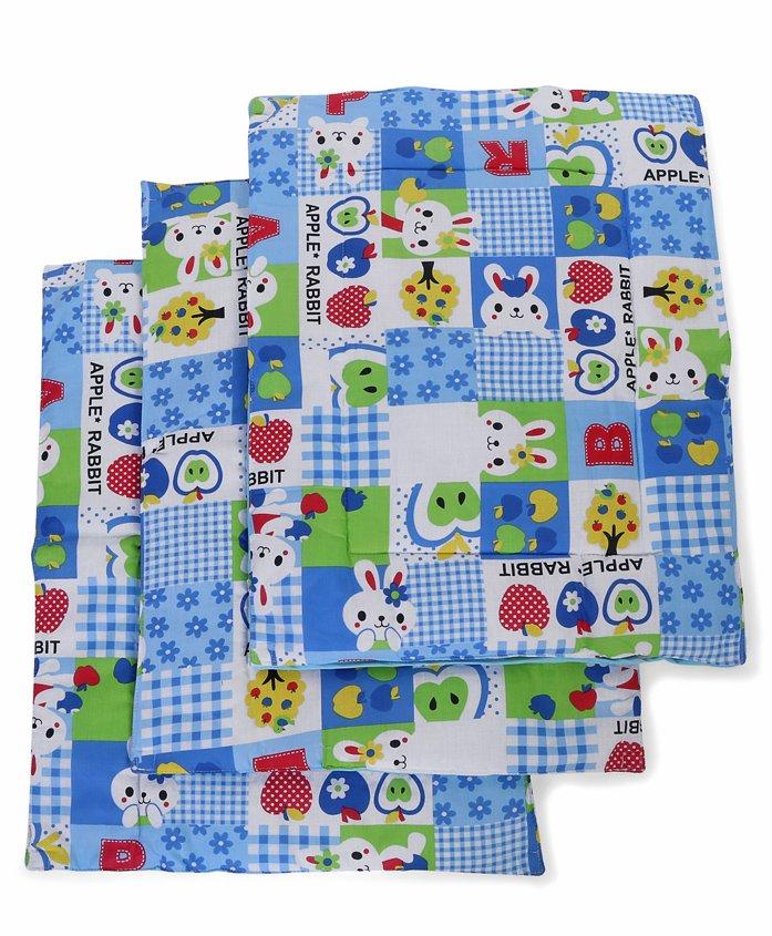 Babyhug Multi Purpose Baby Mat Apple Rabbit Print Set Of 4 - Pink - 595289