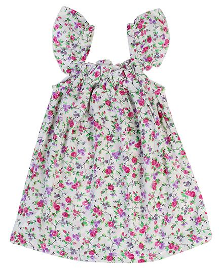 Gini & Jony Cap Sleeves Short Frock Floral Print - Off White