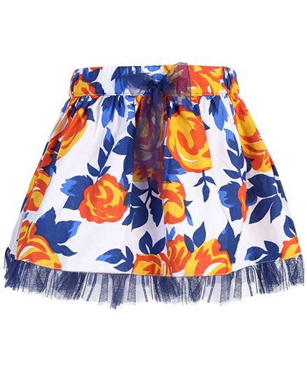 Babyhug Skirt Floral And Leaf Print - White Base