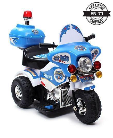 Babyhug 6V Rechargeable Battery Operated Thunder Patrol Police Bike - Blue