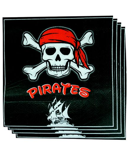 Partymanao Paper Napkin Pirates Print 20 Pieces - Black