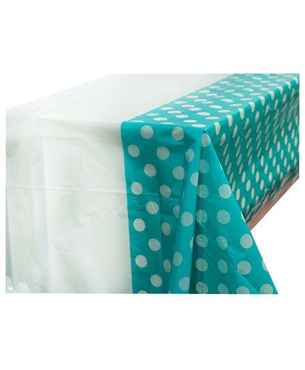 Smartcraft Plastic Table Cover Polka Dots Print - Sea Green