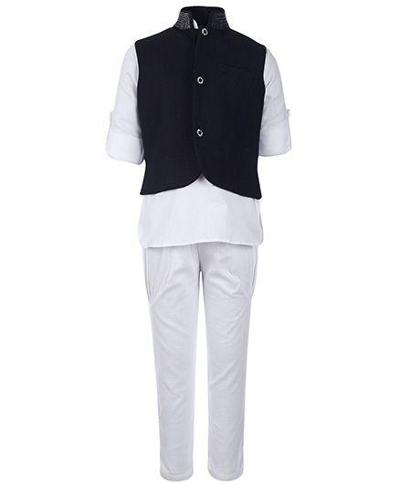 Little Bull Full Sleeves Kurta And Pajama With Jacket - Black And White