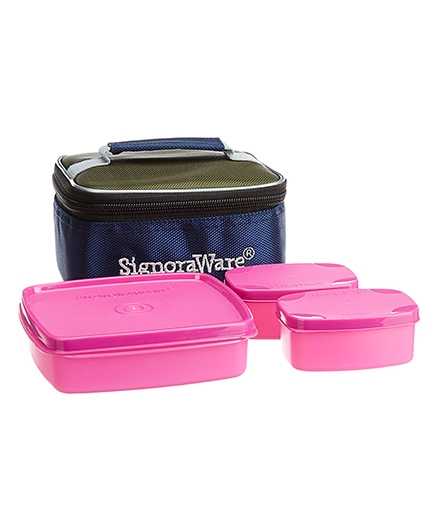 Signoraware Hot N Cute Lunch Box With Bag - Pink