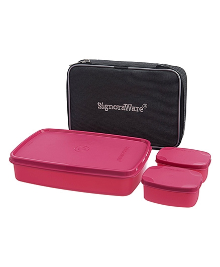 Signoraware Compact Lunch Box With Bag - Pink