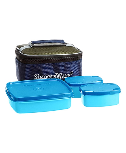 Signoraware Hot N Cute Lunch Box With Bag - Blue