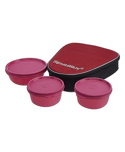 Signoraware Sleek Lunch Box Set With Bag - Pink
