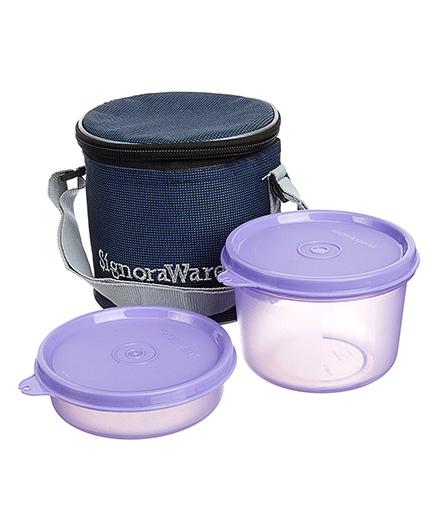 Signoraware Executive Small Lunch Box Set With Bag Mauve - 15 cm