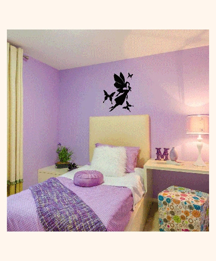 Studio Briana Flying Fairy With Butterflies Wall Decor Decal - Black