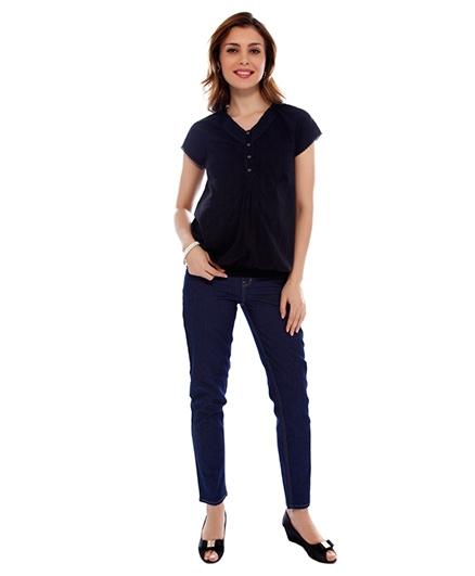 Nine Maternity Dobby Fabric Blouse - Black